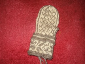 Palm pattern - rightie Norwegian mitt - thumb to come