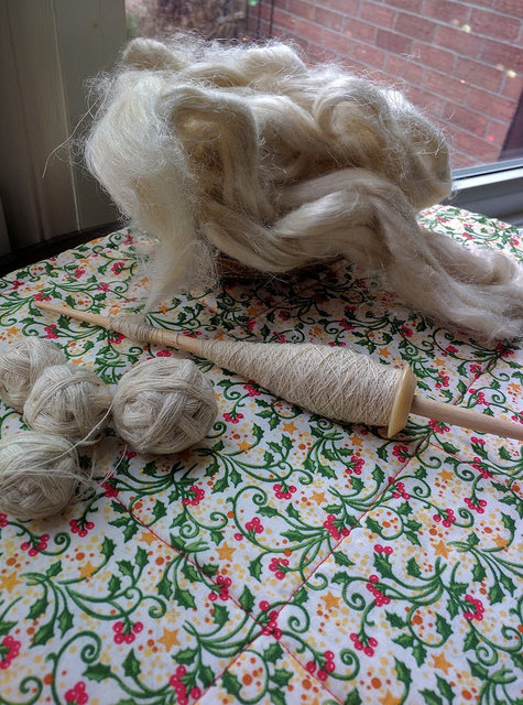 Handspinning hemp top with supported cow bone whorl spindle