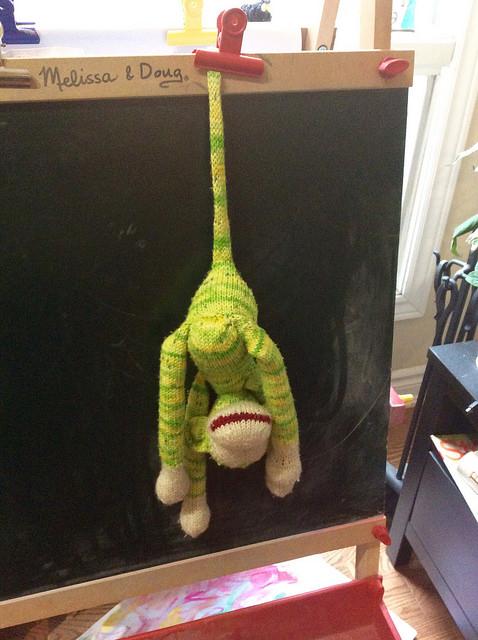 Handknit Jacobus monkey by irieknit in SheepyTime Knits yarns