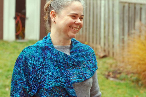 Handknit Onder shawl by irieknit in Yarn Carnival high wire yarn