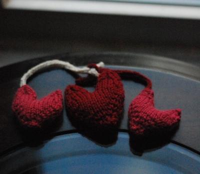Handknit Valentines Day hearts