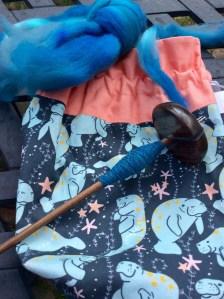 Handspinning Targhee wool on Bosworth skinny Midi in Blue Mahoe by irieknit