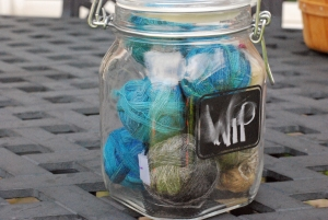 Glass jar with handspun singles yarn by irieknit for spindle projects