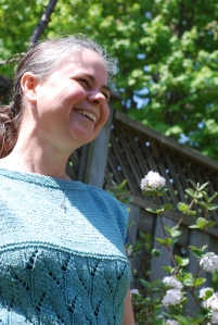 Handspun CVM/Romeldale wool Talland Tee tunic and Saxon blue dyed by irieknit