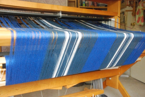 Cotton baby blanket St Andrews Tartan warp on back beam by irieknit