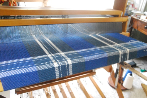 Handweaving St Andrew District Tartan on Schacht Mighty Wolf loom by irieknit cotton baby blankets