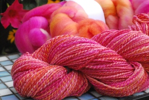 Handspun Targhee wool by irieknit dyed by Sheepy Time Knits