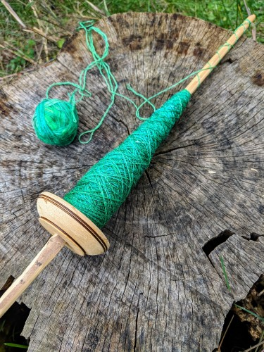Plying merino/silk lace yarn on an Andean low-whorl pushka spindle by irieknit
