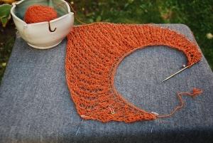 Unblocked knitted lace shawl in progress Lacymmetry by irieknit in handspun handdyed BFL/Silk